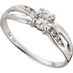 more details on 9ct White Gold Cubic Zirconia Solitaire Crossover Ring.