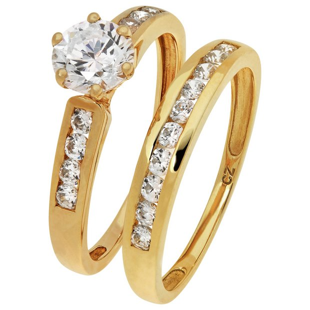 Buy Revere 9ct Gold 2 Piece Cubic Zirconia Bridal Ring Set