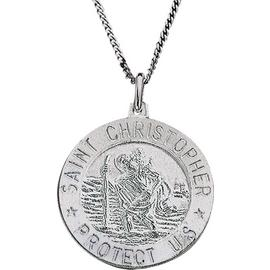 Revere Silver St. Christopher Pendant 20 Inch Necklace
