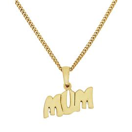 Moon & Back Gold Plated Silver 'Mum' Pendant 16in Necklace