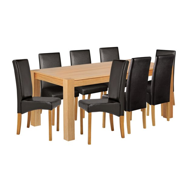 Buy Heart Of House Alston Oak Veneer Table 8 Chairs Black At Your Online Shop