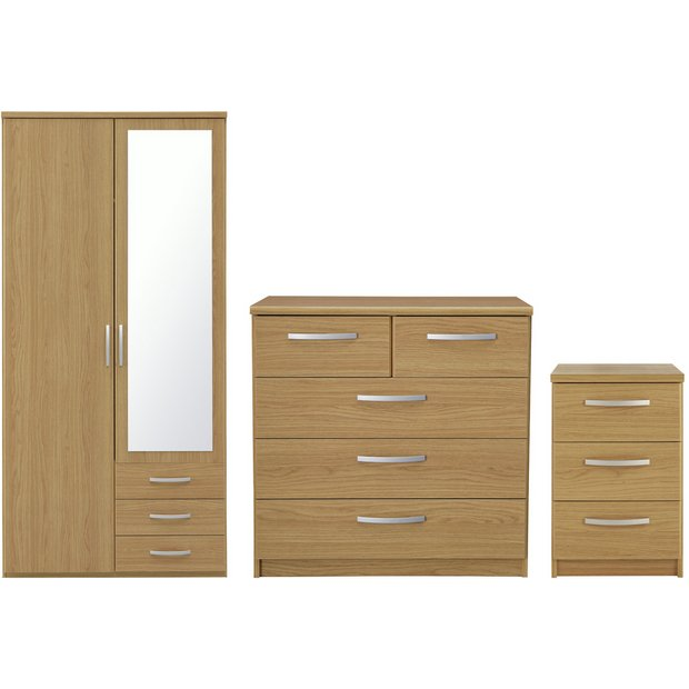 Buy collection new hallingford 3 pc 2 dr wardrobe package for Bedroom furniture argos
