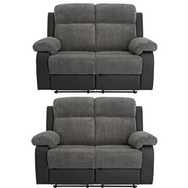 Argos Home Bradley Pair of 2 Seater Recliner Sofa - Charcoal