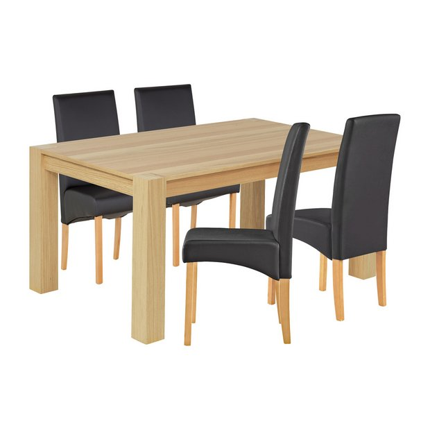 Buy heart of house alston 150cm oak table 4 chairs for Black dining sets with 4 chairs
