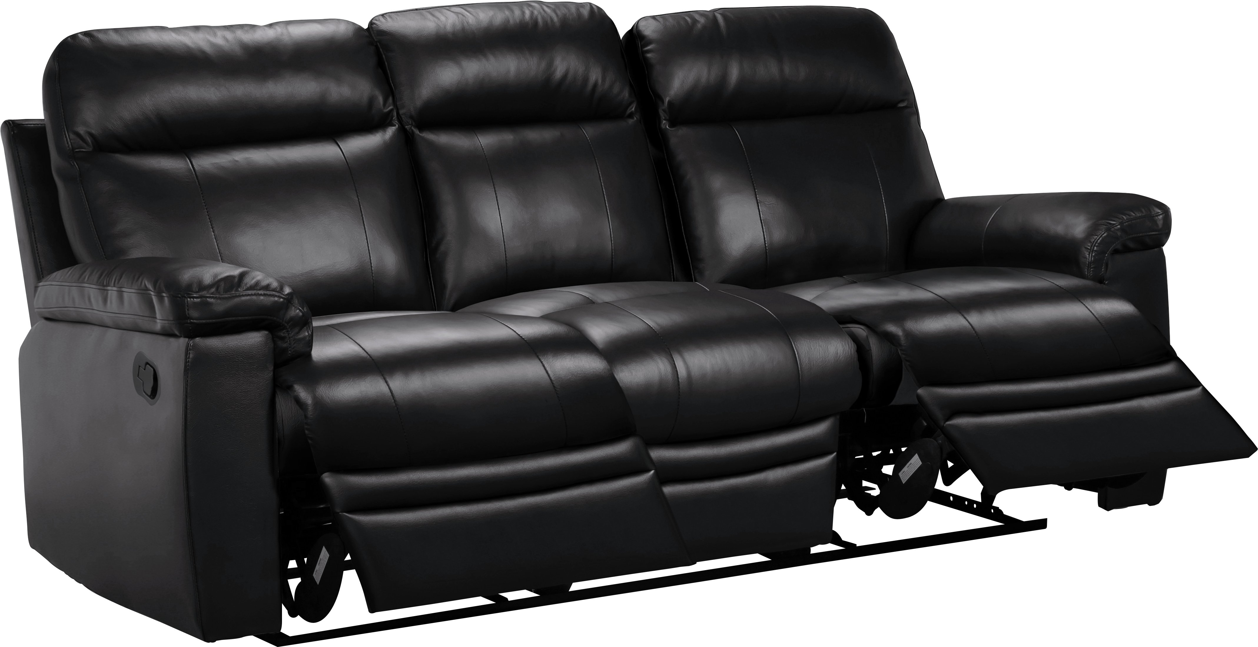 Collection New Paolo 3 Seater Manual Recliner Sofa   Black