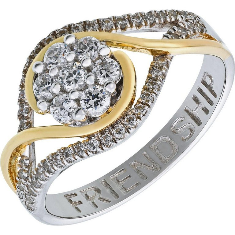 Buy Moon & Back Sterling Silver & Gold Plated CZ Cluster Ring at