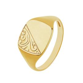 Revere Men's 9ct Yellow Gold Embossed Cushion Signet Ring