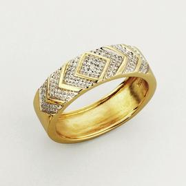 Revere Men's 9ct Yellow Gold Diamond Accent Commitment Ring