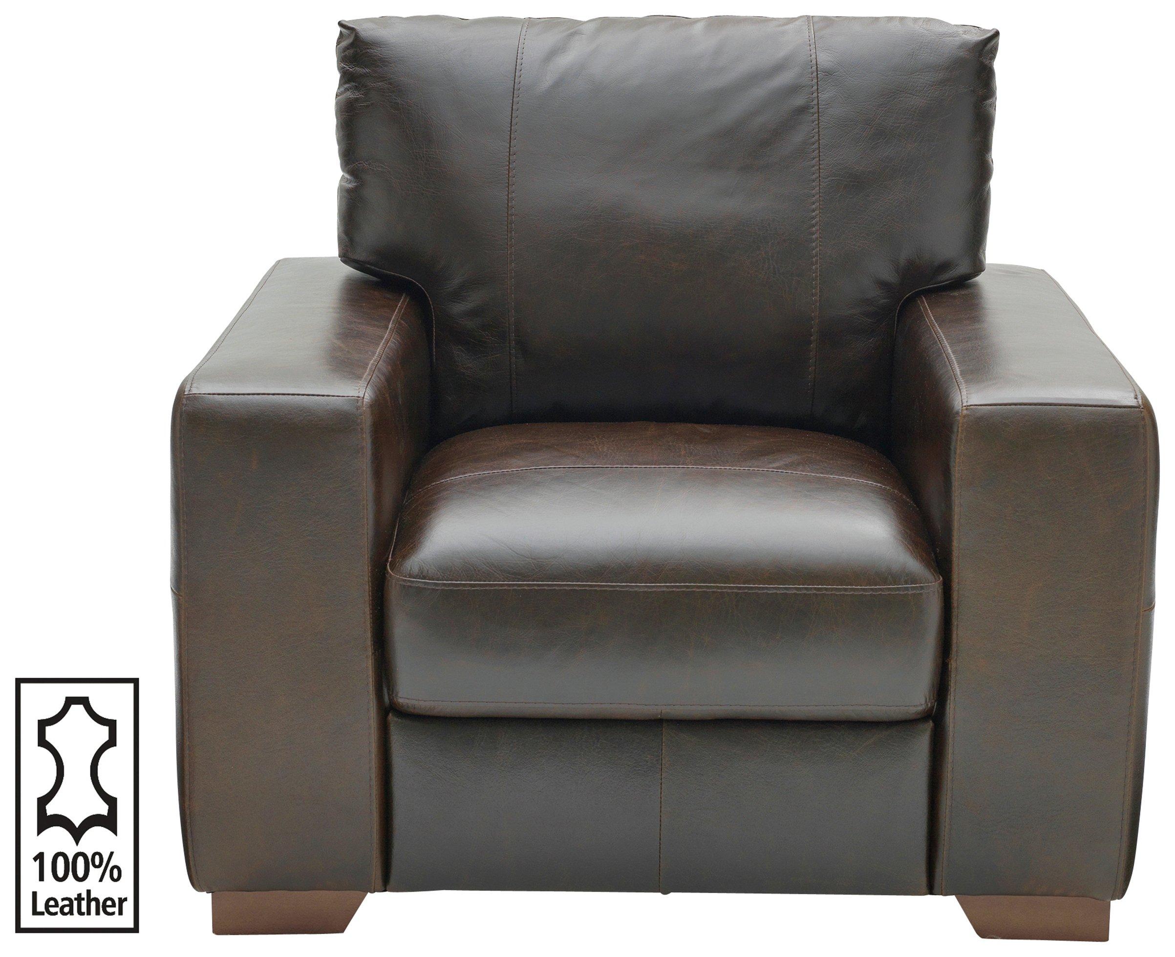 Argos Home Eton Leather Armchair   Dark Brown