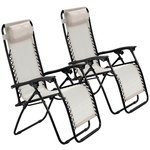 more details on HOME Cream Reclining Sun Loungers - Set of 2.