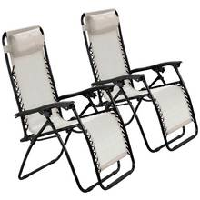 HOME Cream Reclining Sun Loungers - Set of 2