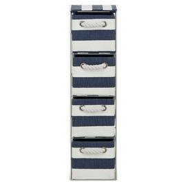 Argos Home Tall 4 Drawer Storage Tower - Blue and White