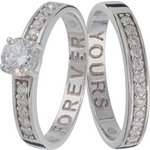 more details on Sterling Silver Cubic Zirconia 2 Piece Eternity Ring Set.