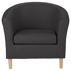 Argos Home Faux Leather Tub Chair - Black