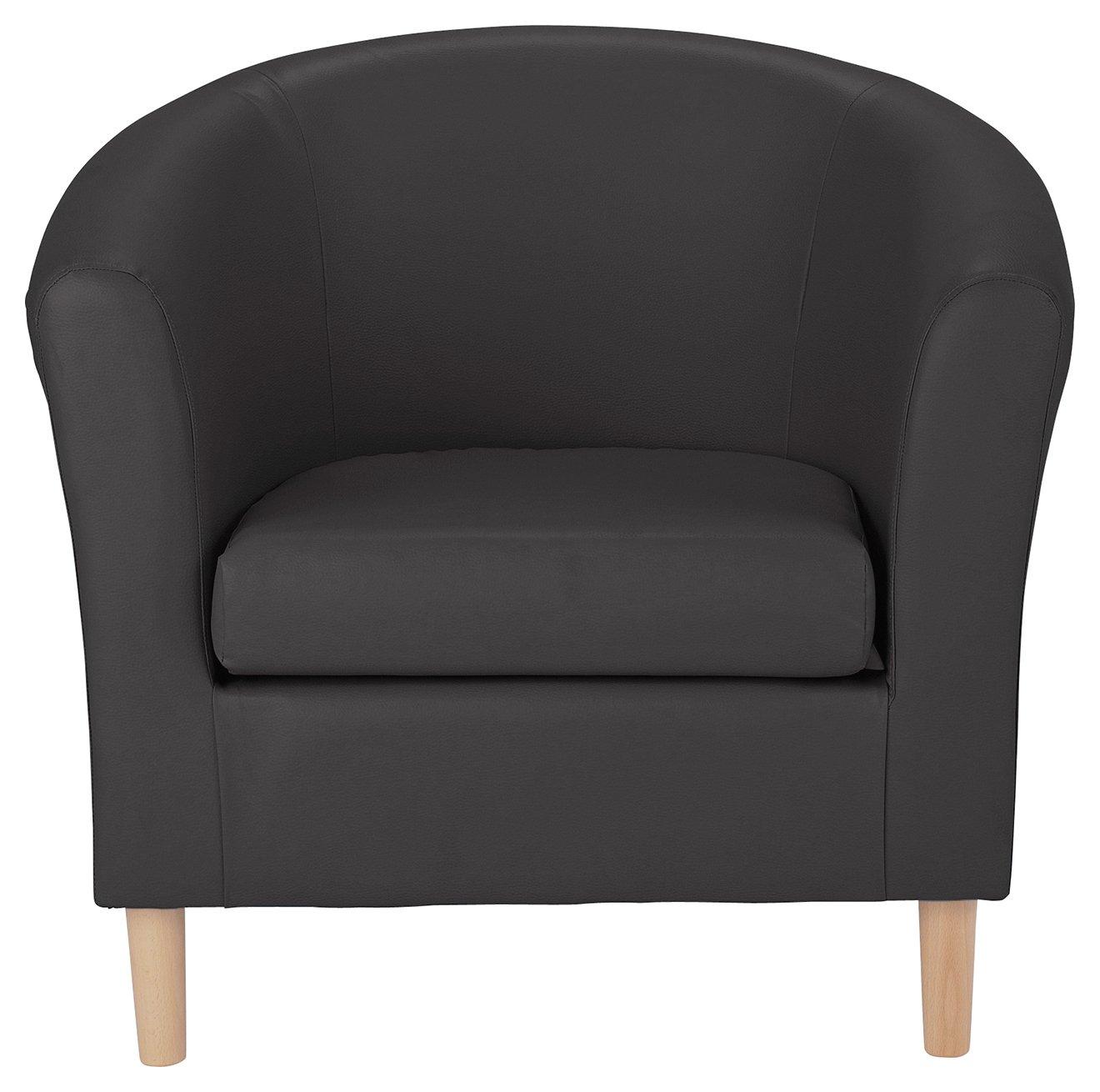 Argos Home Leather Effect Tub Chair   Black