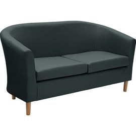 Argos Home 2 Seater Faux Leather Tub Sofa - Black
