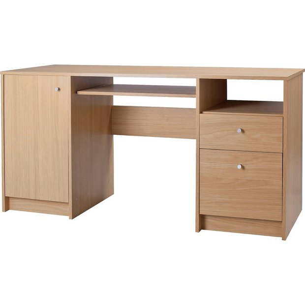 Buy Home Calgary Double Pedestal Desk With Filer Oak Effect At Your Online Shop