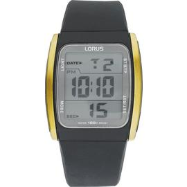 Lorus Men's Black Resin Strap Digital Watch