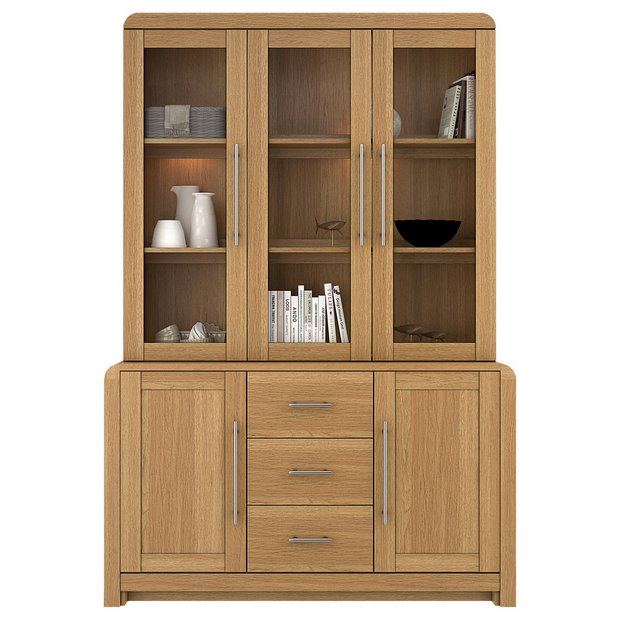Buy heart of house elford 5 door 3 drawer cabinet oak for Argos kitchen cabinets