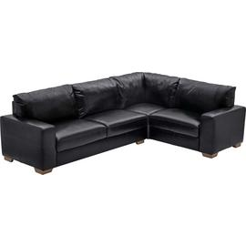 Argos Home Eton Left Corner Leather Sofa - Black