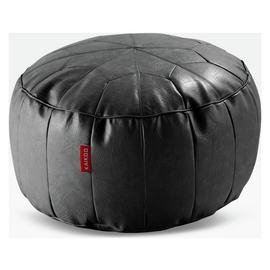 Argos Home Moroccan Faux Leather Footstool - Black