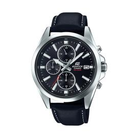 Casio Men's Edifice Chronograph Black Leather Strap Watch