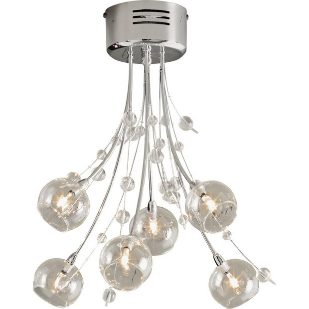 Buy heart of house sophie 6 light ceiling fitting chrome ceiling buy heart of house sophie 6 light ceiling fitting chrome ceiling and wall lights argos aloadofball Image collections