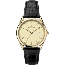 Accurist Men's Black Leather Strap Watch