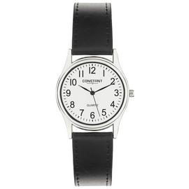 Constant Quartz Men's Black Faux Leather Strap Watch