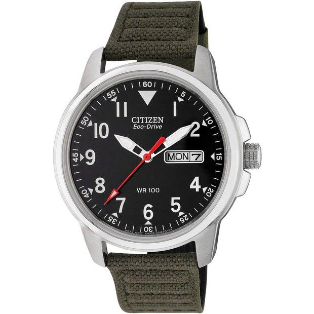 Buy Citizen Men S Eco Drive Analogue Green Canvas Strap Watch Men S Watches Argos