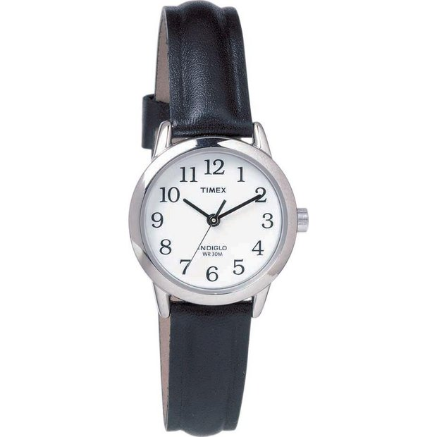 buy timex watches at argos co uk your online shop for jewellery more details on timex ladies white dial black leather strap watch