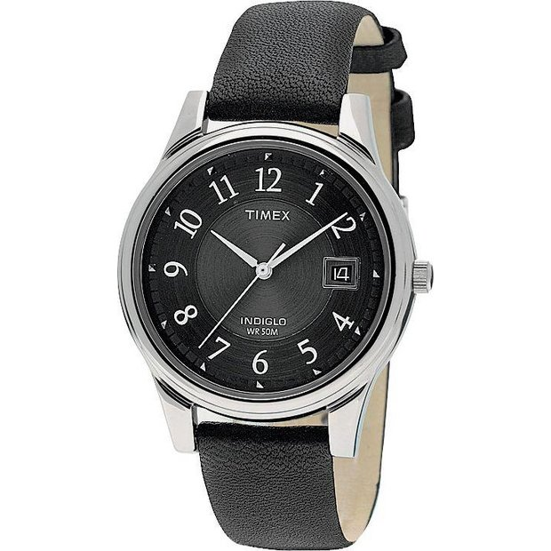 buy timex men s watches at argos co uk your online shop for more details on timex men s quartz traditional black leather strap watch