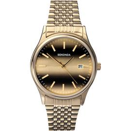 Sekonda Men's Gold Plated Steel Bracelet Tiger Eye Watch