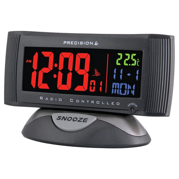 buy precision radio controlled 3 colour display alarm clock at your online shop. Black Bedroom Furniture Sets. Home Design Ideas