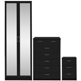 Argos Home Cheval 3 Piece 2 Door Mirror Wardrobe Set