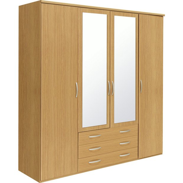 Buy Collection New Hallingford 4 Dr 3 Drw Mirror Wardrobe Oak At Your Online