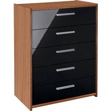 HOME New Sywell 5 Drawer Chest - Walnut Effect & Black Gloss