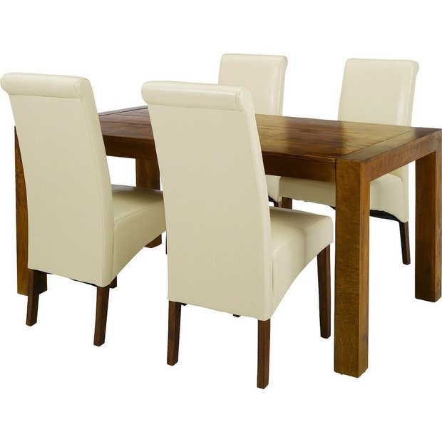Buy heart of house melford acacia dining table 4 chairs cream at your online - Cream dining tables and chairs ...