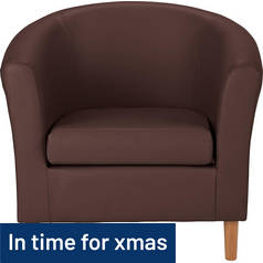 Argos Home Leather Effect Tub Chair - Brown