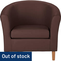 Argos Home Faux Leather Tub Chair - Brown