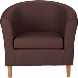 Habitat Faux Leather Tub Chair - Brown