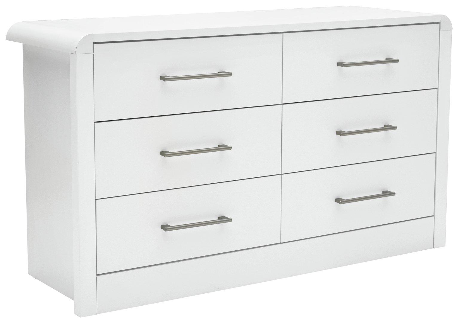 heart of house elford 6 drawer chest white