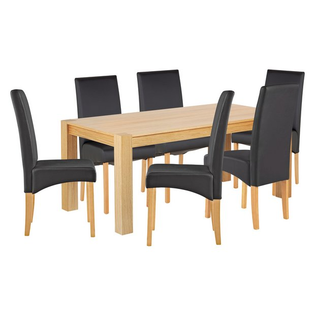 Buy heart of house alston oak veneer table 6 chairs black at your online shop Buy home furniture online uk