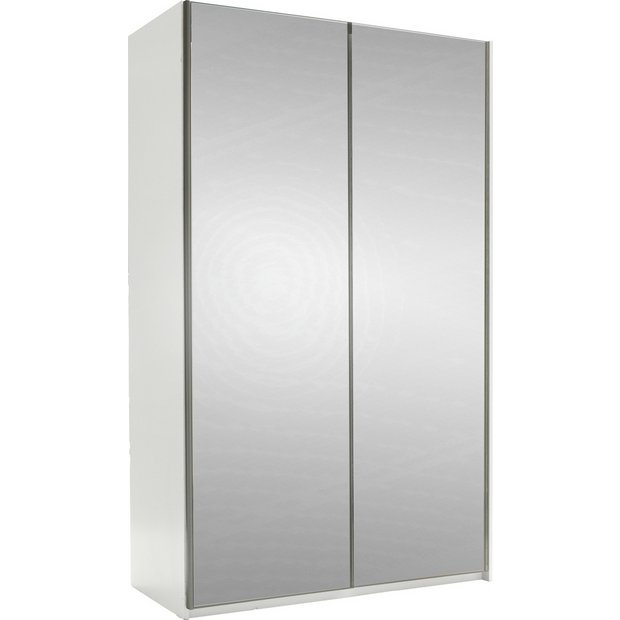 Buy hygena bergen 2 door small sliding wardrobe mirrored at your online shop for - Sliding door wardrobes for small spaces image ...