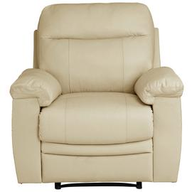 Argos Home Paolo Leather Mix Manual Recliner Chair - Ivory