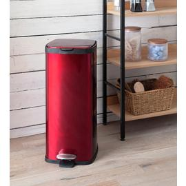 Argos Home 30L Square Kitchen Pedal Bin - Red