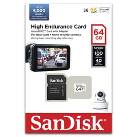 SanDisk High Endurance 100MBs Micro SDXC Memory Card - 64GB