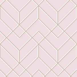 Superfresco Easy Losanges Filaires Geo Rose Gold Wallpaper
