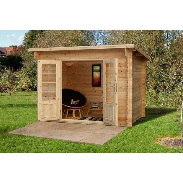 buy forest harwood wooden log cabin 10 x 7ft at. Black Bedroom Furniture Sets. Home Design Ideas
