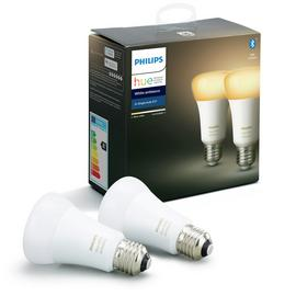 Philips Hue E27 White Smart Bulbs with Bluetooth- 2 Pack